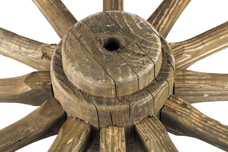 Eje y rayos de la rueda de carro ornamental resistida de madera imágenes de archivo libres de regalías