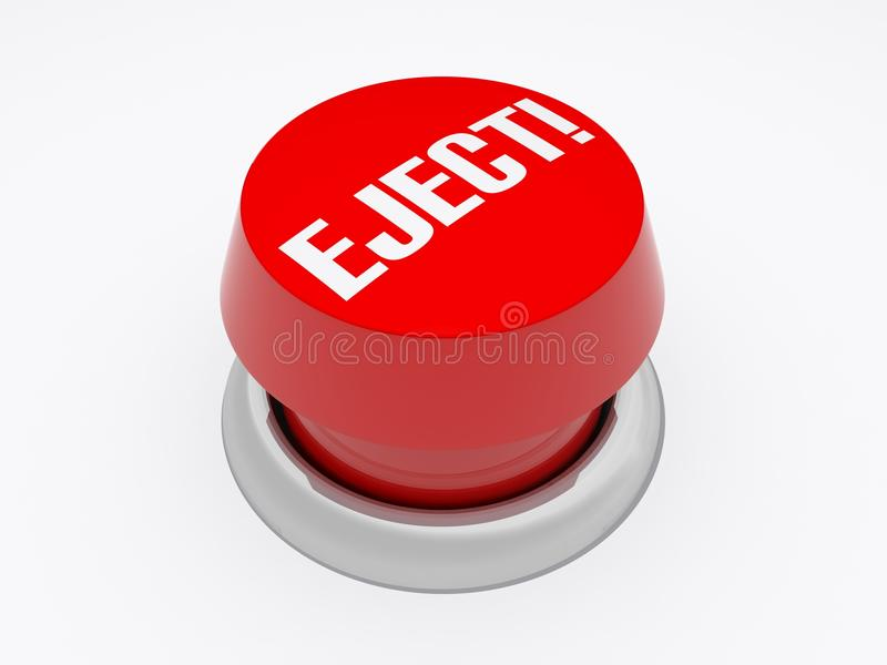 Eject!. A button with eject written on it isolated on white stock illustration