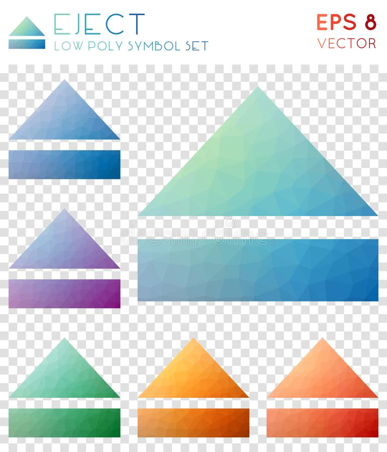 Eject geometric polygonal icons. Appealing mosaic style symbol collection. Pleasing low poly style. Modern design. Eject icons set for infographics or vector illustration