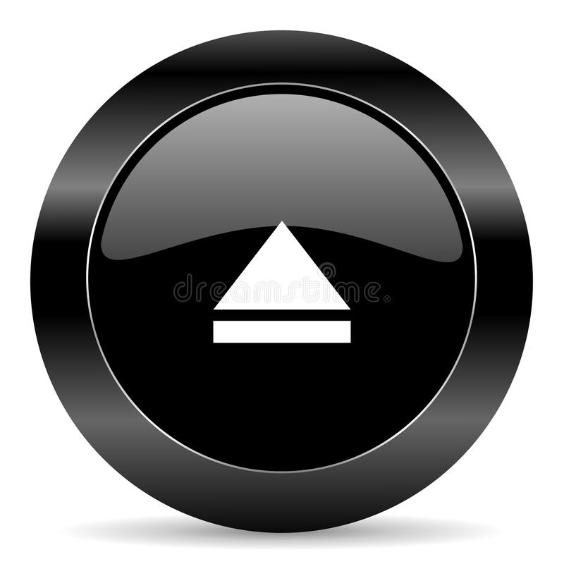 Eject icon. Black circle web button on white background eject icon royalty free illustration