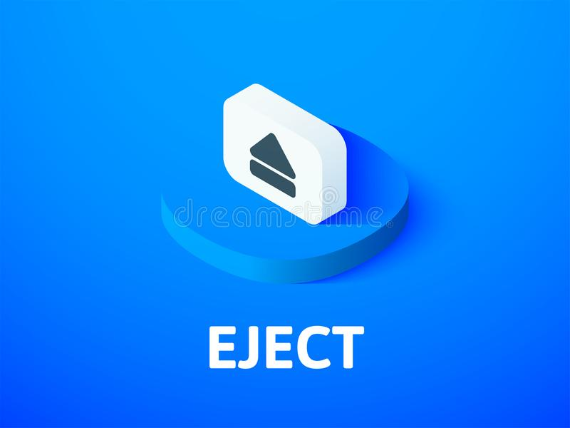 Eject isometric icon, isolated on color background. Eject icon, vector symbol in flat isometric style isolated on color background vector illustration