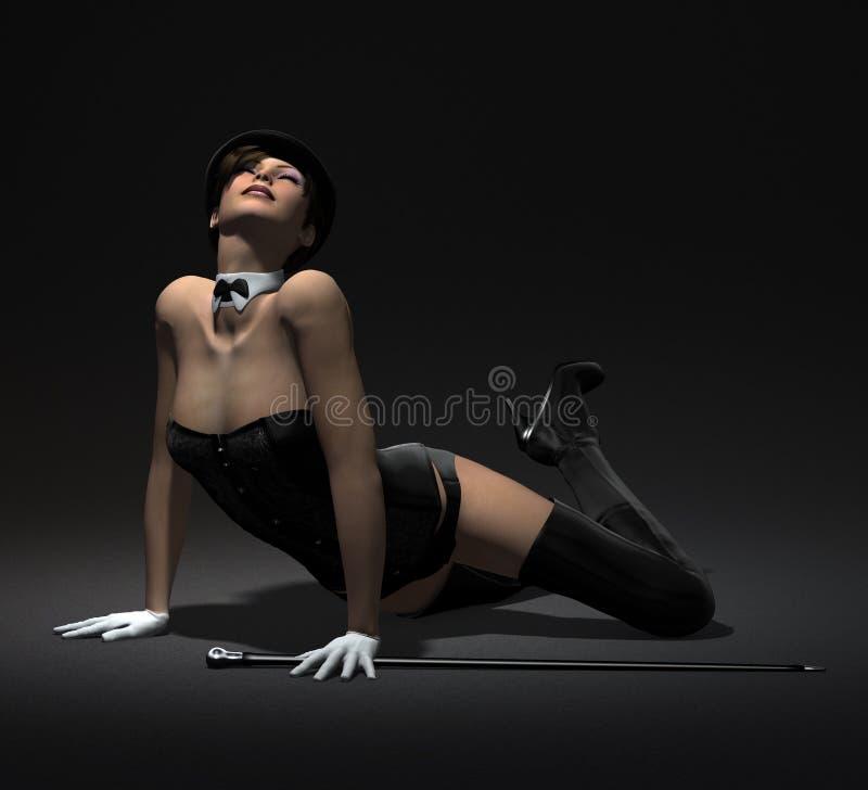 Ejecución atractiva de la muchacha del cabaret   ilustración del vector