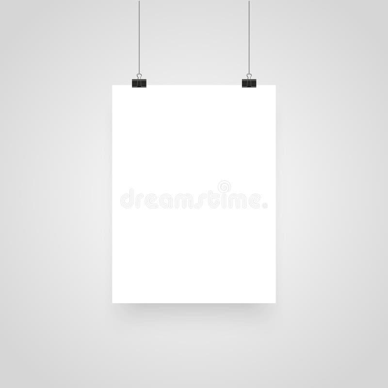 Ejecución blanca realista del cartel de la maqueta Clips para las presentaciones del negocio, lugar para el texto Plantilla blanc ilustración del vector