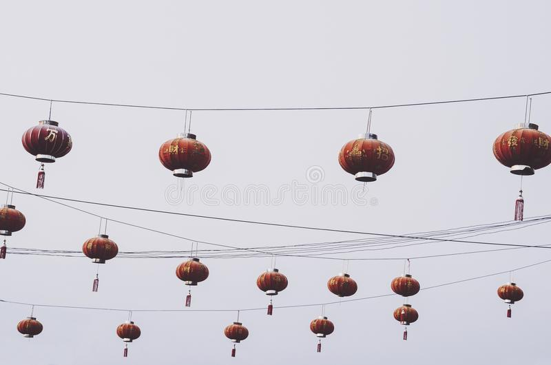 Ejecución china roja del modelo de las linternas foto de archivo libre de regalías