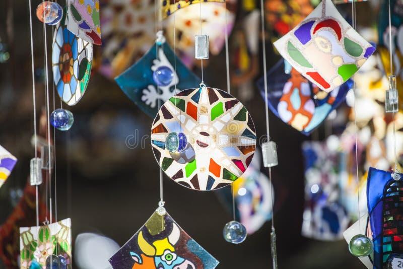Ejecución de cristal colorida del carillón de viento fotos de archivo libres de regalías