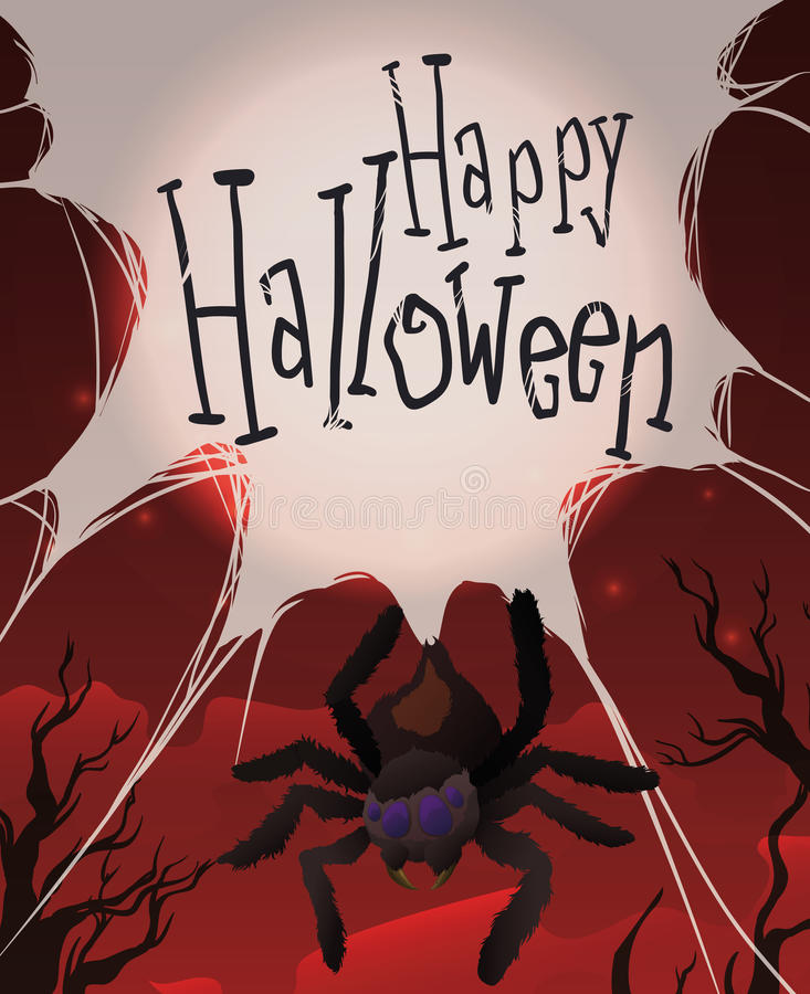 Ejecución de la araña de su web en una noche roja de Halloween, ejemplo del vector ilustración del vector