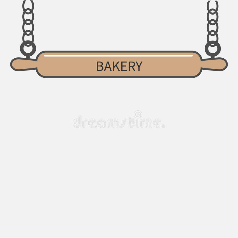 Ejecución de madera del émbolo del rodillo en cadena Diseño plano del letrero de la panadería stock de ilustración