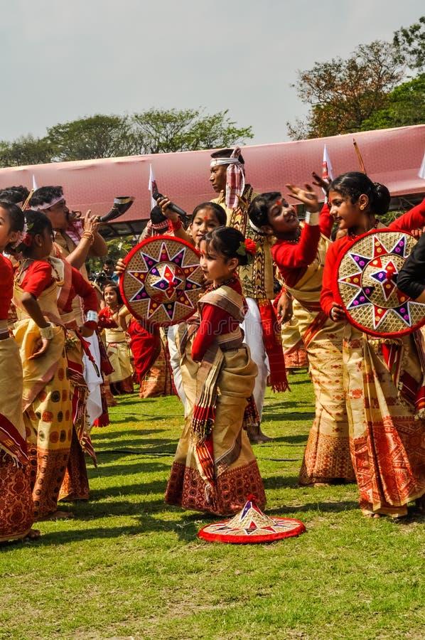 Ejecución de muchachas en Assam imagen de archivo libre de regalías