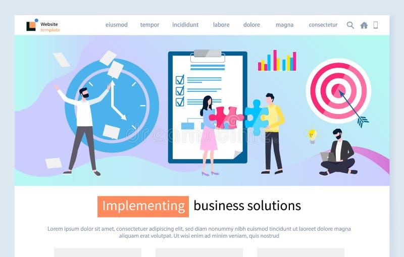 Ejecución de página web de la solución del negocio con el texto ilustración del vector