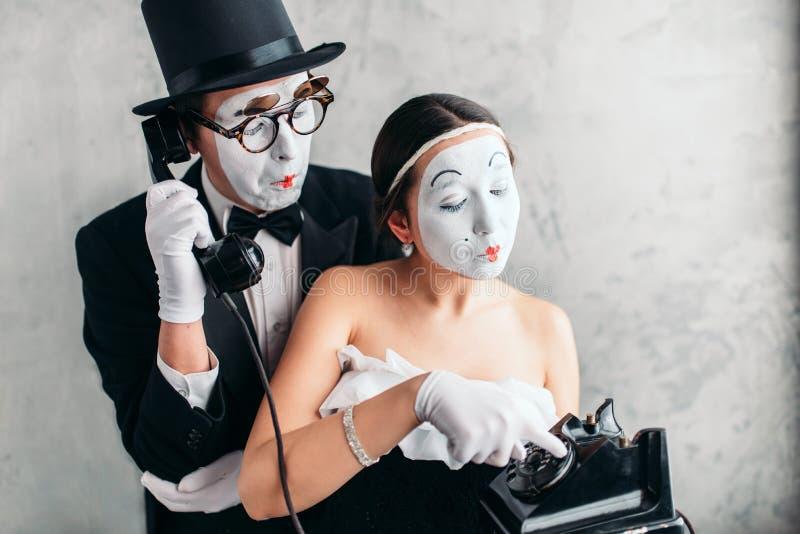 Ejecución del actor y de la actriz del teatro de la pantomima foto de archivo libre de regalías