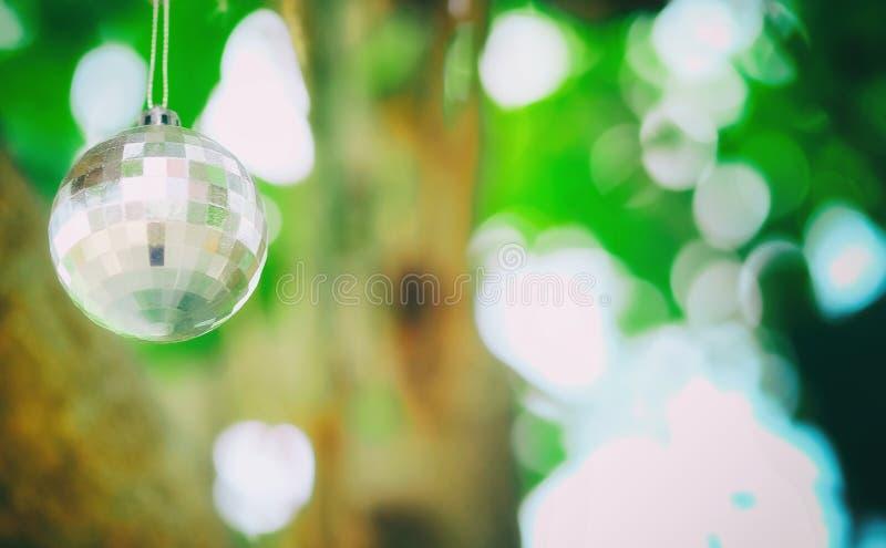 Ejecución del espejo de cristal debajo del árbol para adornar hermoso fotos de archivo