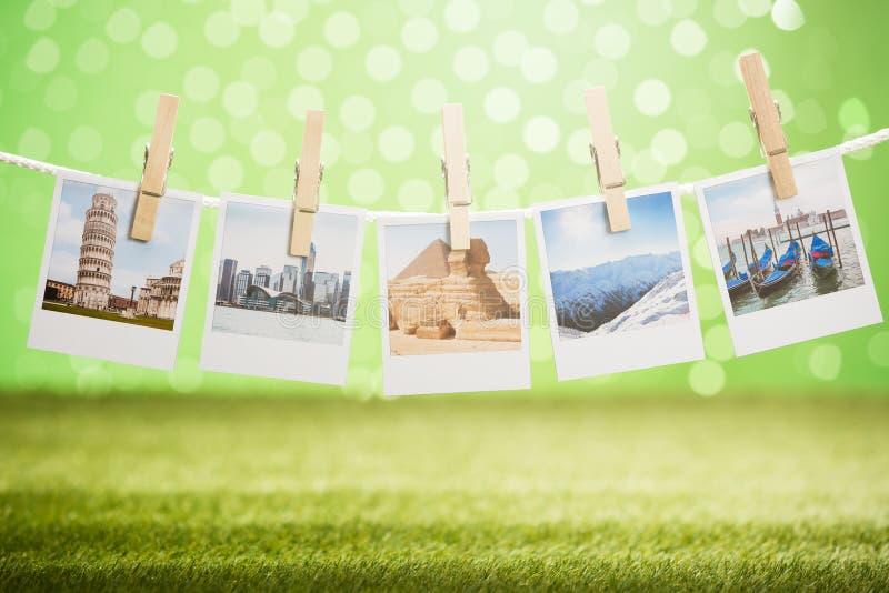 Ejecución del marco de la foto en cuerda foto de archivo
