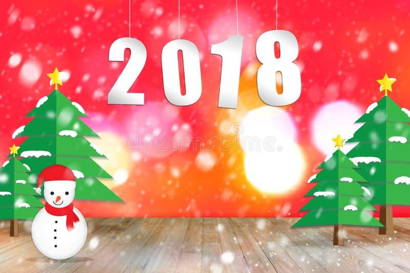 ejecución del número de 2018 textos sobre la tabla de madera vacía con la Navidad t fotos de archivo