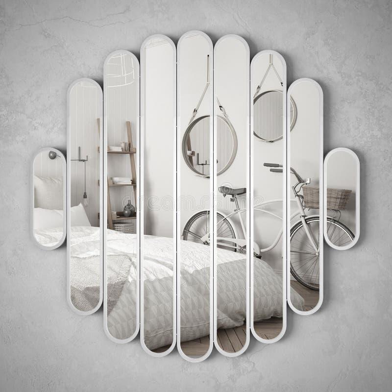 Ejecución moderna del espejo en la pared que refleja la escena del diseño interior, dormitorio brillante con la bicicleta, arquit libre illustration