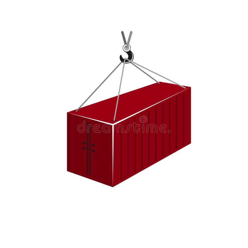 Ejecución roja del envase en Crane Hook stock de ilustración