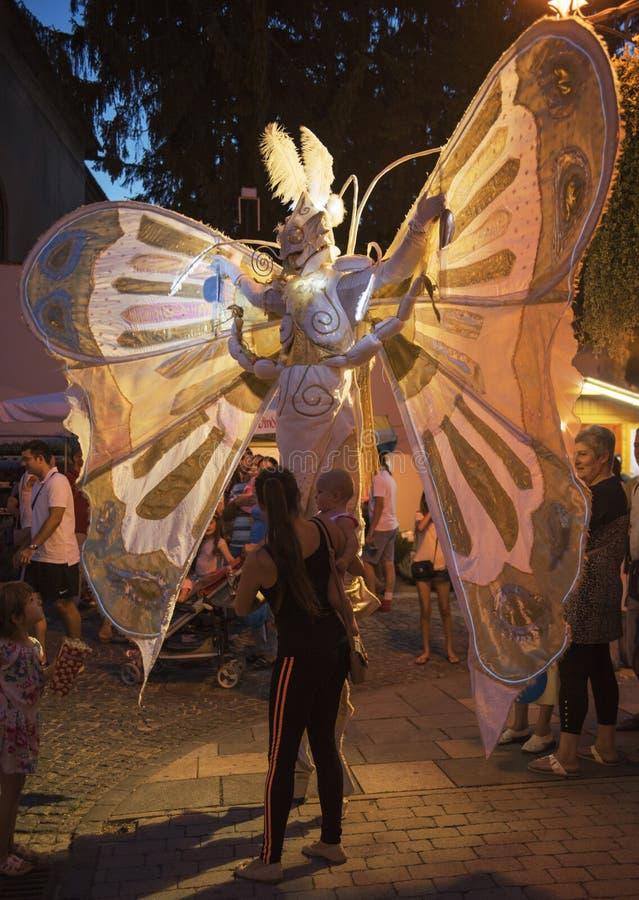 Ejecutante de la calle en traje de la mariposa imágenes de archivo libres de regalías