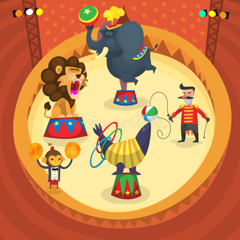 Ejecutantes de circo stock de ilustración