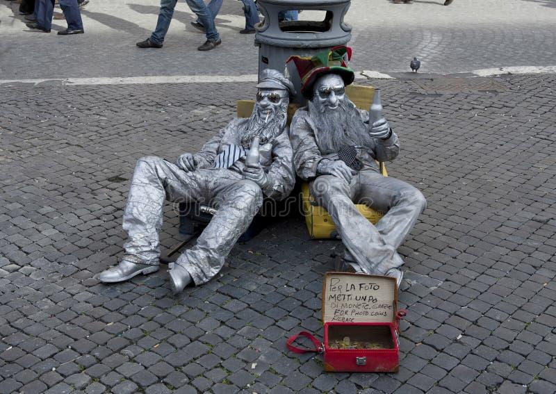 Ejecutantes de la calle, Roma Italia imagen de archivo libre de regalías