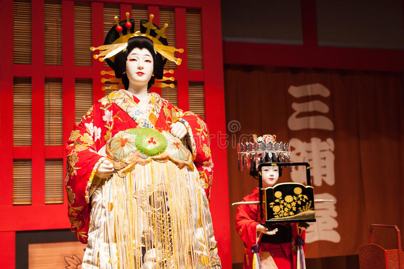 Ejecutantes japoneses del kabuki fotos de archivo
