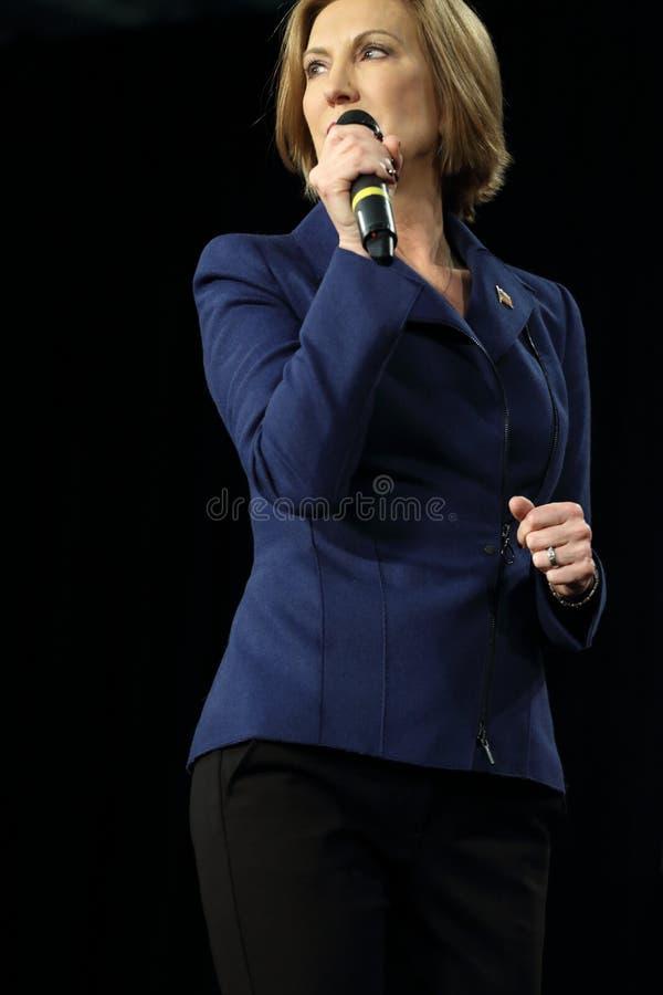 Ejecutivo anterior Carly Fiorina de HP durante discurso de campaña imagen de archivo libre de regalías