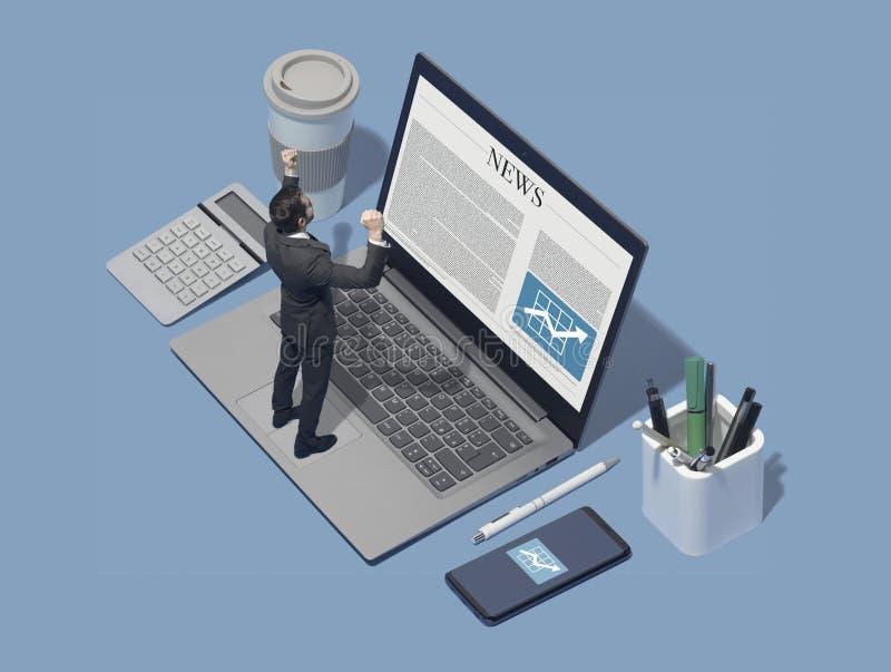 Ejecutivo de operaciones corporativo que comprueba noticias financieras en línea imagenes de archivo