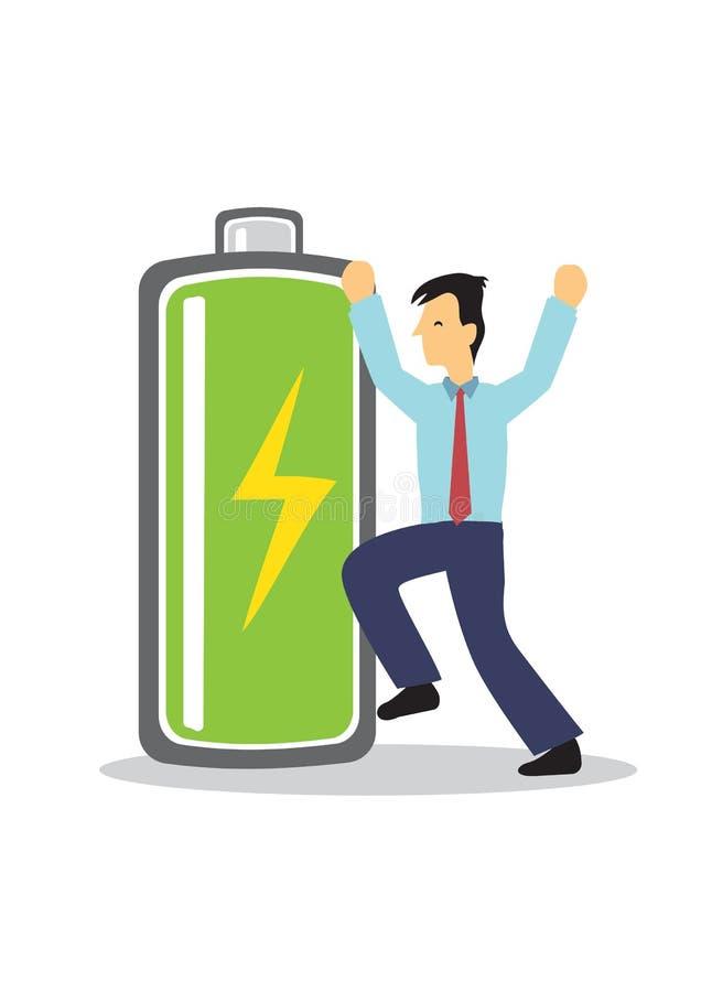 Ejecutivo de operaciones en traje con el indicador lleno de la batería para mostrar su nivel de energía, cargado completamente y  libre illustration