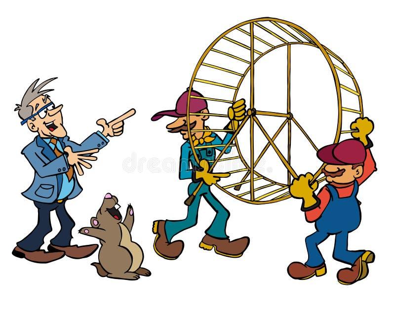 Ejecutivo 'senior' Bertrand que ordena para llevarse la rueda del hámster libre illustration