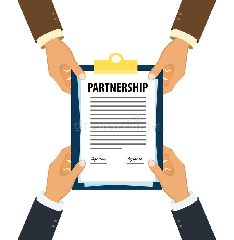 Ejecutivos que entregan el documento firmado de la sociedad ilustración del vector