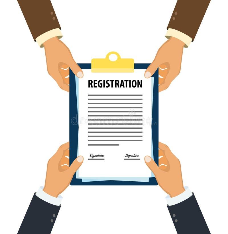 Ejecutivos que entregan el documento firmado del registro ilustración del vector