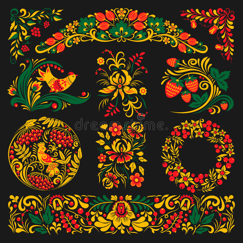 Ejemplo étnico dibujado Rusia tradicional de los ornamen del diseño del modelo del khokhloma del vector stock de ilustración