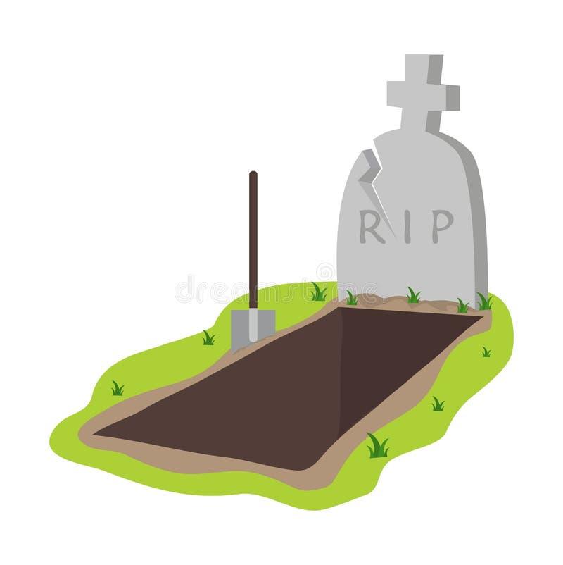 Ejemplo abierto del vector del sepulcro y de la l?pida mortuoria stock de ilustración