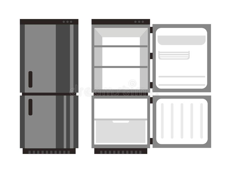 Ejemplo abierto y cerrado del vector de la comida del refrigerador stock de ilustración
