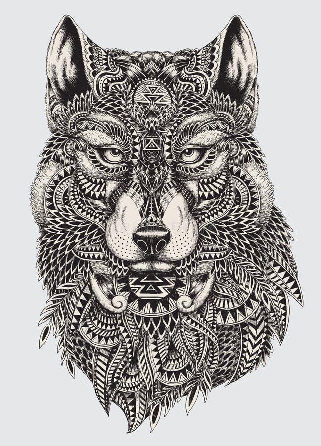 Ejemplo abstracto altamente detallado del lobo ilustración del vector