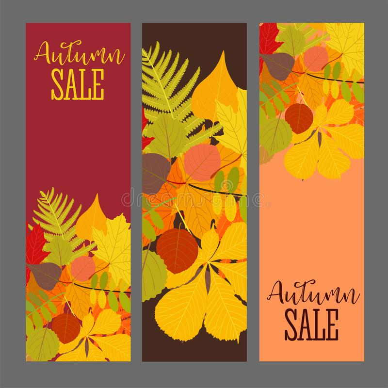 Ejemplo abstracto Autumn Sale Background del vector con Autumn Leaves que cae ilustración del vector