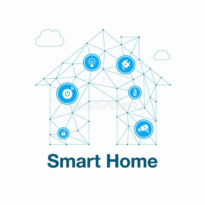 Ejemplo abstracto casero elegante del vector de la tecnología moderna hecho de polígonos de la red con los iconos ilustración del vector