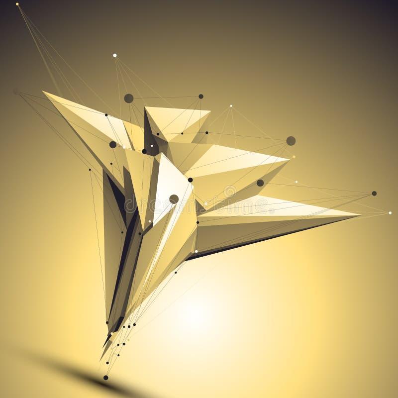 Ejemplo abstracto complicado del oro 3D, vector ilustración del vector