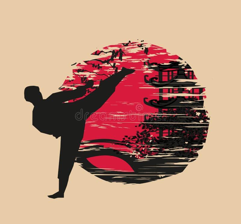 Ejemplo abstracto creativo del combatiente del karate stock de ilustración