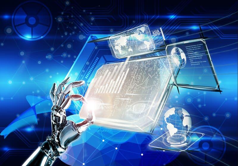 Ejemplo abstracto 3d de una mano aislada tecnológica multicolora de la máquina en un fondo futurista del holograma