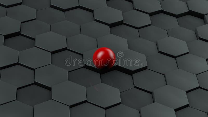 Ejemplo abstracto de hexágonos negros de diverso tamaño y de la bola roja que mienten en el centro La idea de la unicidad represe stock de ilustración
