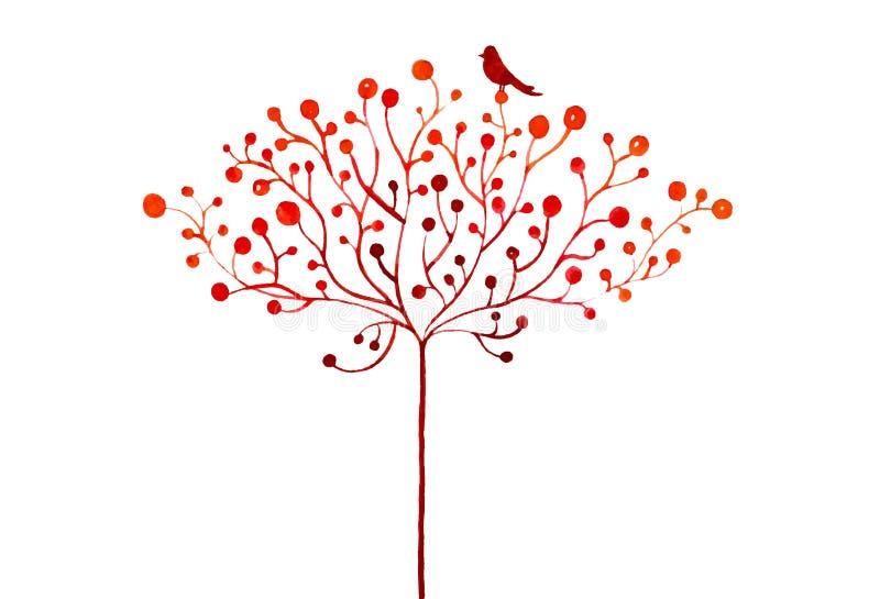 Ejemplo abstracto de la acuarela del árbol y de los pájaros estilizados del otoño ilustración del vector
