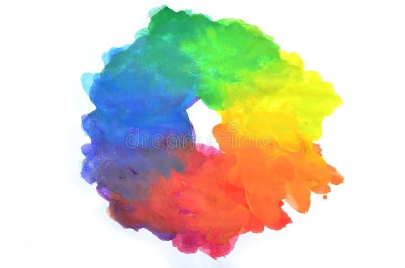 Ejemplo abstracto de la acuarela del fondo con la imagen del espectro de color estándar, cerrada en una forma redonda desigual ilustración del vector