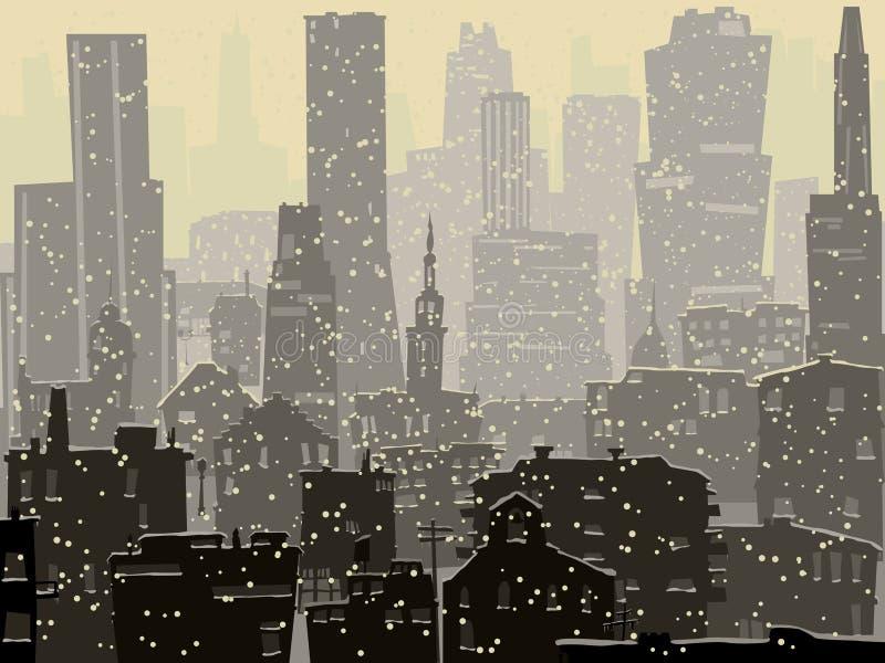 Ejemplo abstracto de la ciudad nevosa grande. ilustración del vector