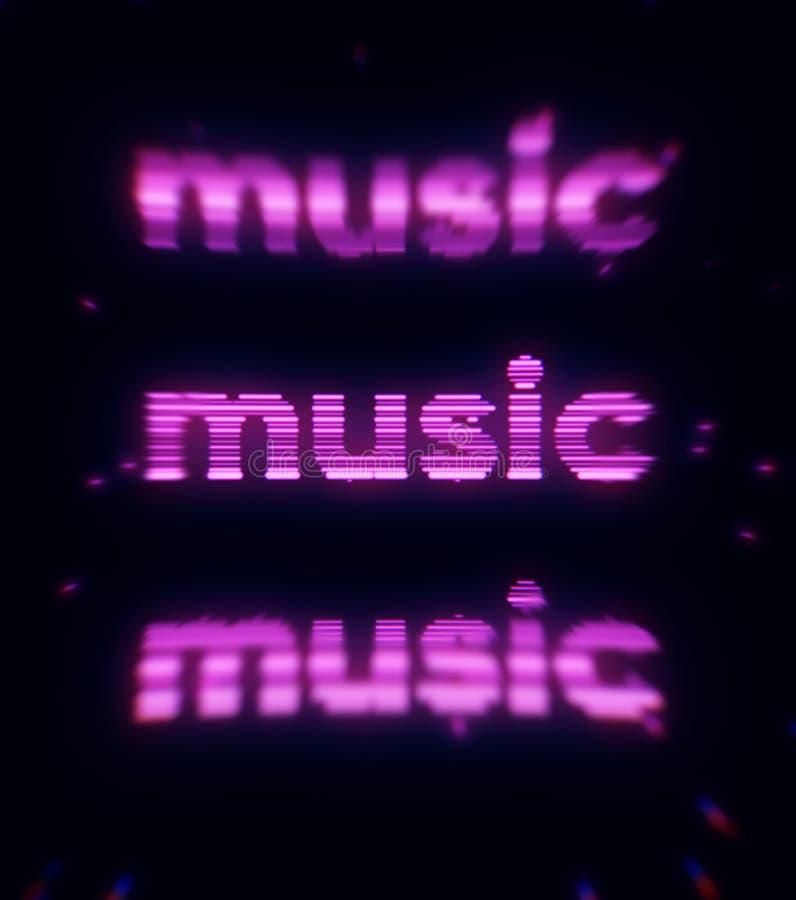 Ejemplo abstracto de la música púrpura de la palabra en fondo negro impresi?n Música de neón de la inscripción de la lila que bri stock de ilustración