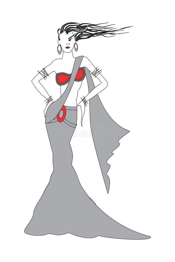Ejemplo abstracto de la moda del vector con los elementos en el fondo blanco libre illustration