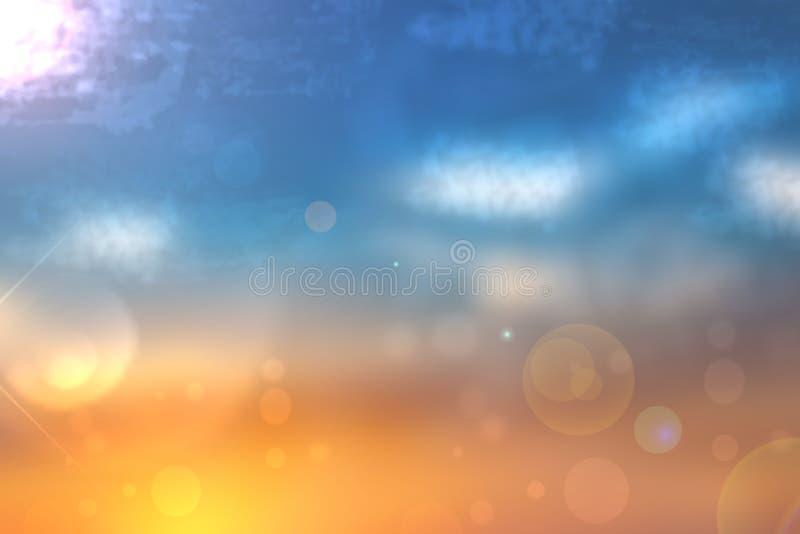 Ejemplo abstracto de la puesta del sol Tarde o textura abstracta del fondo del humor de la puesta del sol con la naranja y las lu stock de ilustración