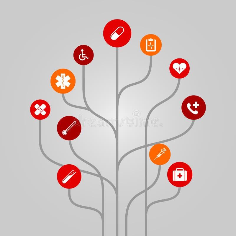 Ejemplo abstracto del árbol del icono - concepto de la medicina y de la atención sanitaria stock de ilustración