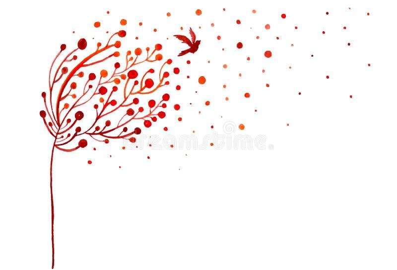Ejemplo abstracto del árbol y de los pájaros estilizados del otoño libre illustration