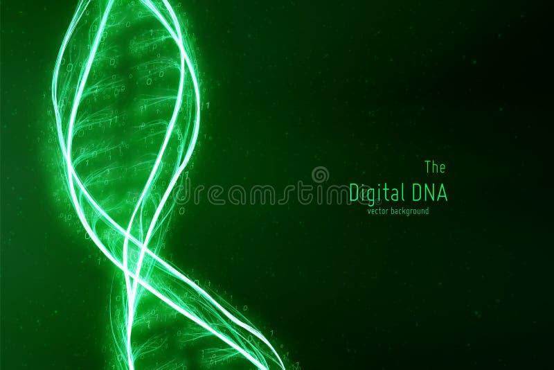 Ejemplo abstracto del doble hélice de la DNA del vector Fuente misteriosa de fondo de la vida Genom futurista Diseño conceptual libre illustration