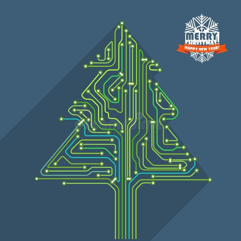 Ejemplo abstracto del esquema del metro del árbol de navidad ilustración del vector
