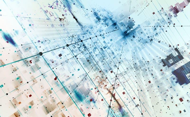 Ejemplo abstracto del fondo 3D de la tecnología Arquitectura de ordenador cuántico stock de ilustración